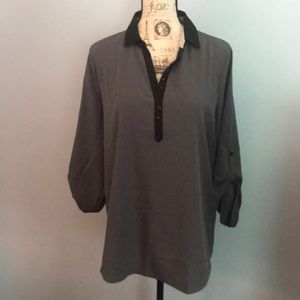 NWOT Kenneth Cole Reaction Gray/Black Studded Top
